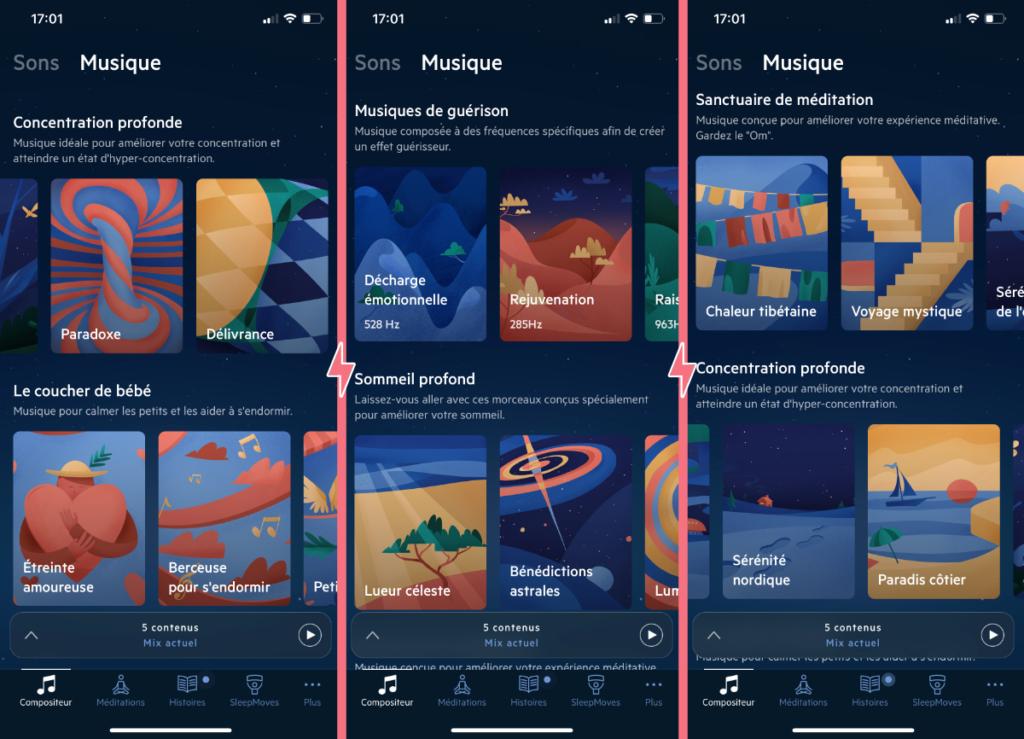 Les musiques pour s'endormir de l'application Relax Melodies