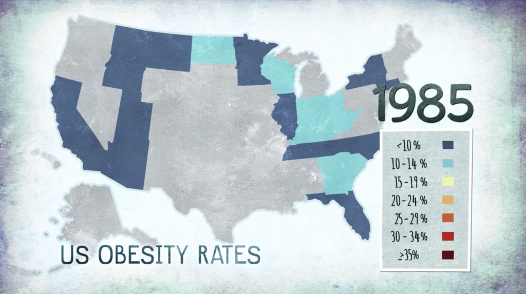 Carte montrant le pourcentage des américains obèses en 1985 - Source The C World
